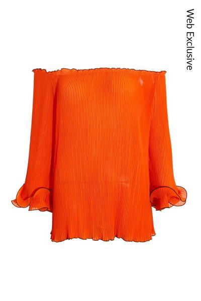 Orange Pleated Chiffon Bardot Top